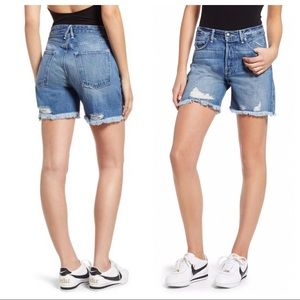 Good American High Waist Cut Off Denim Shorts